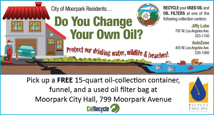 Obtain free oil cans and filter bags at Moorpark City Hall