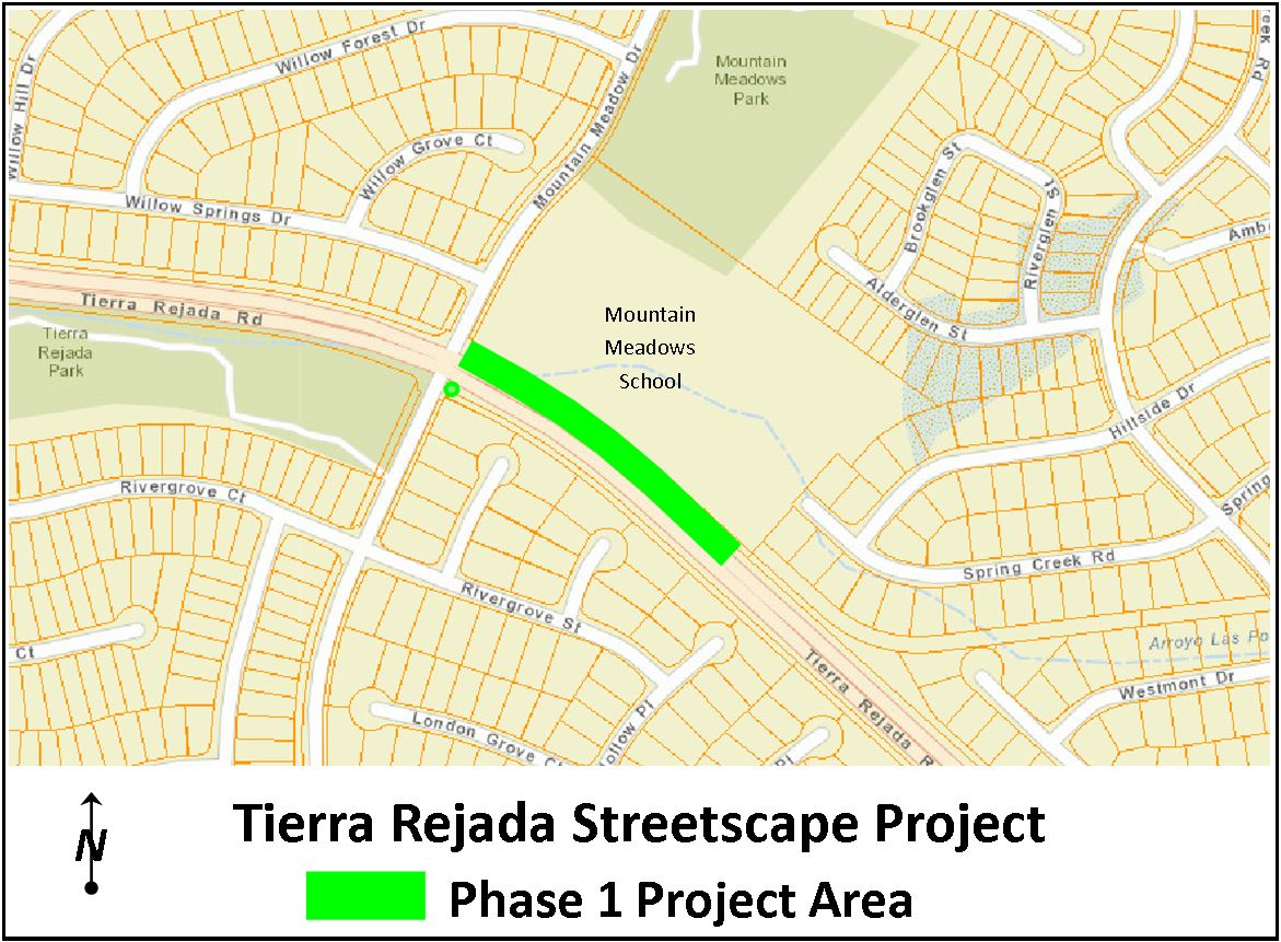 Location Map Showing Tierra Rejada Road Near Mountain Meadows School