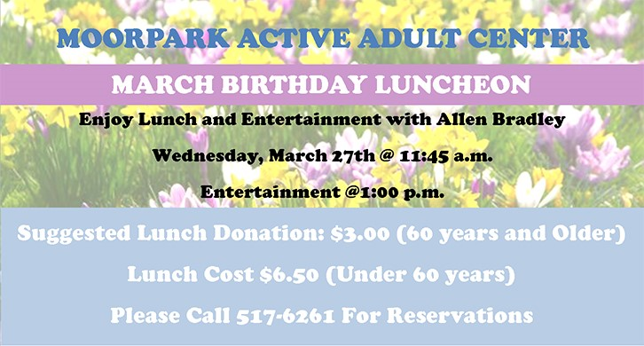 Celebrate Your March Birthday at the Active Adult Center