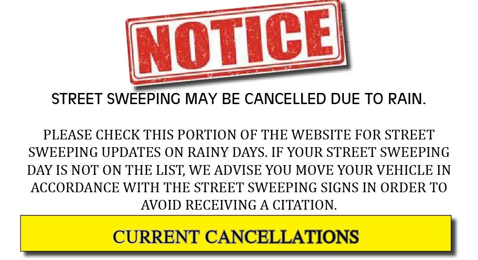 Street Sweeping Cancellation WEBSITE NOTICE