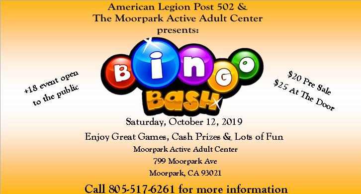 Bingo Bash on October 12, 2019 at Moorpark Active Adult Center call 805 517-6261 for more info