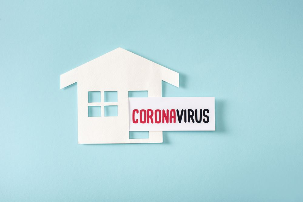 House Icon with Coronavirus Sign