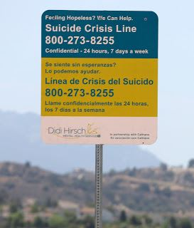 Suicide Prevention Sign on 118 Freeway