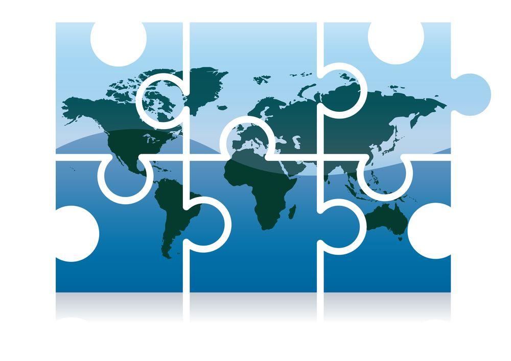 The Earth broken into puzzle pieces