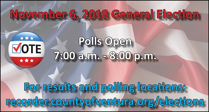 2018 Election Information at recorder.countyofventura.org/elections