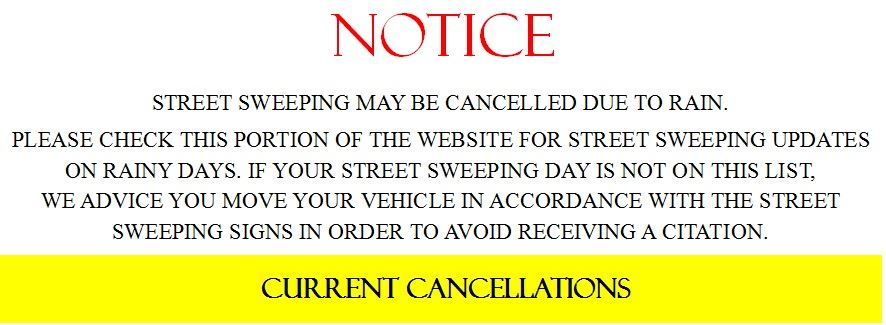 Street Sweeping Cancellation Notice WEBSITE