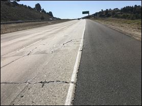 Cracks in pavement on 23 Freeway