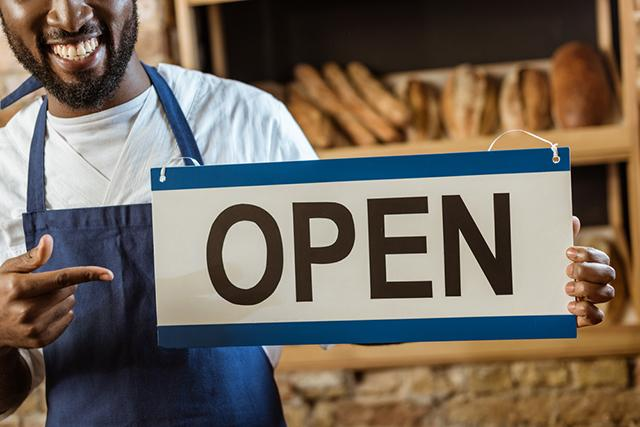 Open Sign in Storefront Window