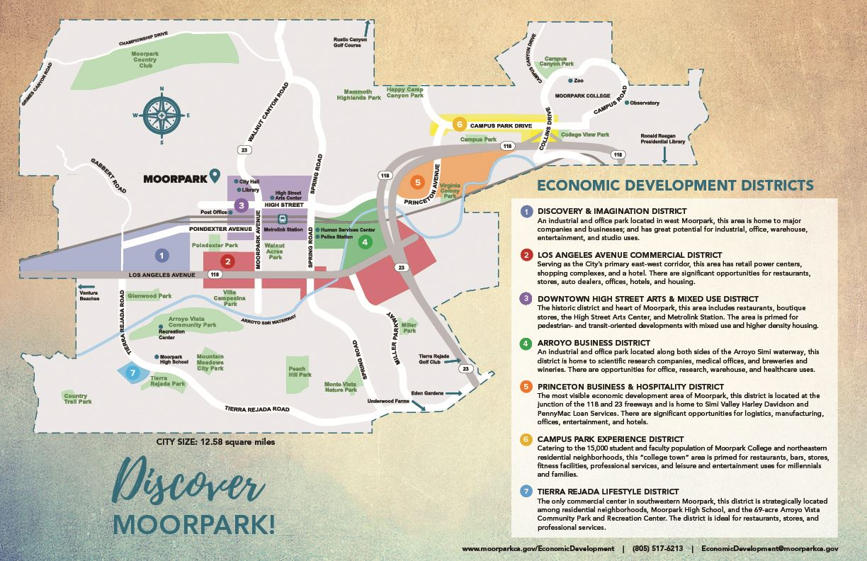Moorpark Economic Districts Map