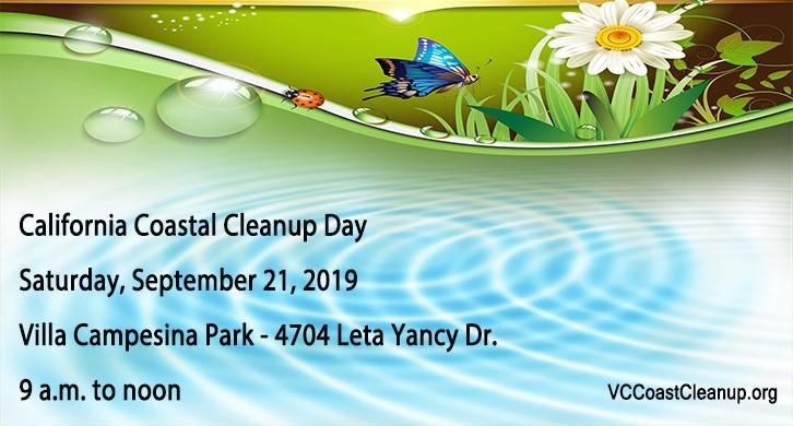 2019 California Coastal Cleanup Day Sept 21 9-noon Villa Campesina Park in Moorpark