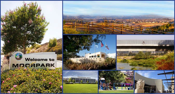 Pictures of the Welcome to Moorpark sign and long-distance pictures of the community